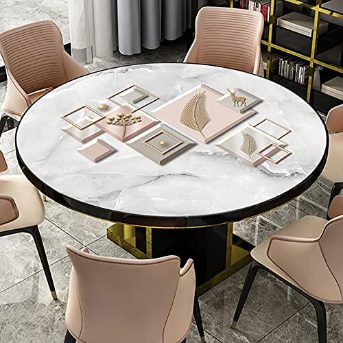 uyeoco Forma Rotonda PVC Tovaglia,1MM Vetro Morbido Trasparente/Stampa Copritavolo, Lavabile, Resistente PVC, Sala da Pranzo Usato per Tavolino da caffè (Color : D, Size : 90CM/35.4in)