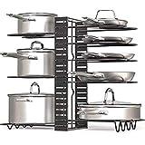 Organizer per padelle e pentole con ripiani regolabili, design 2019, supporto per utensili da cucina (questo modello non dispone di protezioni in silicone sui ripiani)