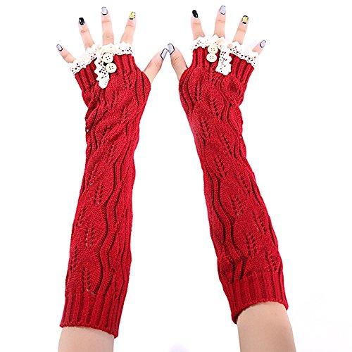 TININNA Gants Tresse Tricote Oversleeve Main Bras Chaud Mitaine Fingerless Mitten pour Femme Fille Rouge