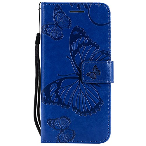 Hancda Coque pour iPhone X, Housse Coque Flip Case Cuir Porte Carte Magnétique Portefeuille Cover pour iPhone X Etui Support Antichoc Coque Case pour iPhone X,Bleu