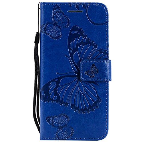 Hancda Coque pour iPhone X, Housse Coque Flip Case Cuir Porte Carte Magnétique Portefeuille Cover pour iPhone X Etui Support Antichoc Coque Case pour iPhone X,Bleu