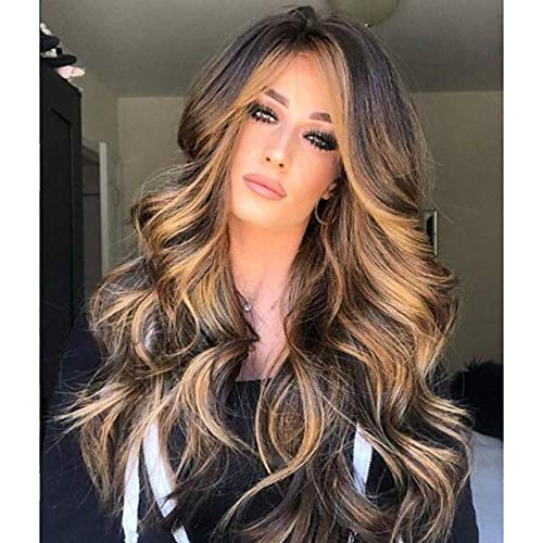 Synthetische pruik Matte body wave Midden-Part Pruik Blond Long Light golden synthetisch haar 65 inch Womens gemarkeerd/Balayage Hair Dark Roots Midden-Part Blond Bruin # 8014961
