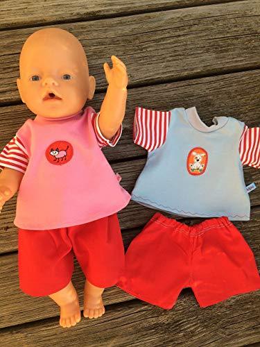 Puppenkleidung handmade passend für Baby Puppe Gr. 43 cm Sommerset Kleidung Bekleidung Shirt + Hose NEU