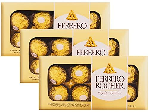 Kit 3 Caixas Bombom Ferrero Rocher 8 Unidades Presente 100g
