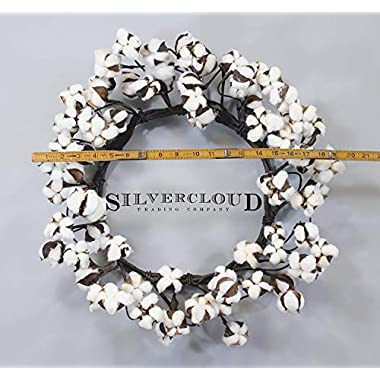 Real Cotton Wreath - 18 -28  - Adjustable Stems - Farmhouse Decor - Wedding Centerpiece
