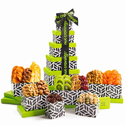 Gourmet Tower Gift Basket, Dried Fruit & Nut (12 Mix) -...