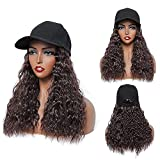 Baseball Cap Hat with Hair Attached Short Wavy Bob Wigs Cap for Women FDBJulyy Hair Hat Wig Dark Brown Color