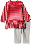 Moon and Back Baby Girls' Organic 2-Piece Dress and Legging Set, Red Cranberry, 3-6 Months
