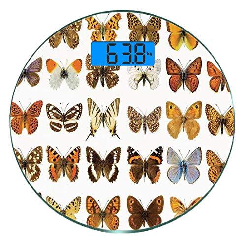 Digitale Präzisionswaage für das Körpergewicht Runde Schmetterlinge Dekorationen Ultra dünne ausgeglichenes Glas-Badezimmerwaage-genaue Gewichts-Maße,Schmetterlings-Wunder beflügelt Joy Freedom Femini