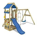 WICKEY Parco giochi in legno FreshFlyer Giochi da giardino con altalena e scivolo blu, Torre d'arrampicata da esterno con sabbiera e scala di risalita per bambini