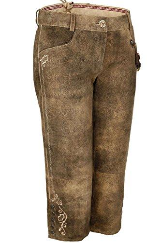 Spieth & Wensky Damen Damen Leder-Kniebundhose Ziegenvelour Holz braun, Schlamm/ST 238 Holz, 42