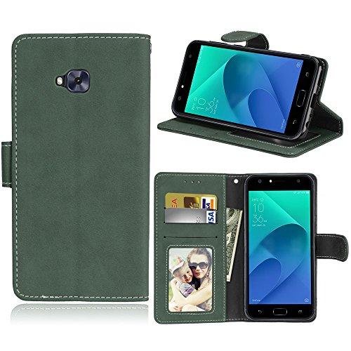 Capa para Asus Zenfone 4 Selfie ZD553KL proteção de couro PU com 3 compartimentos para cartões capa flip (Verde)