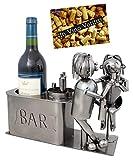BRUBAKER - Porte-bouteille de vin - Couple d'amoureux dans bar - Métal - Carte de vœux incluse - Idée cadeau originale - Objet décoratif