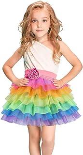 女の子のパーティードレス ユニコーンレインボースカート6層ガールズプリンセスふわふわスカートスカートホリデーダンススカート フォーマルなパーティーの誕生日の卒業プロムのダンスのボールのドレスドレス