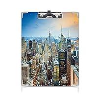 クリップボード アメリカ プレゼントA4 バインダー ニューヨーク市高層ビルの空中マンハッタン都市建築パノラマ 用箋挟 クロス貼 A4 短辺とじシルバーブルーピーチ