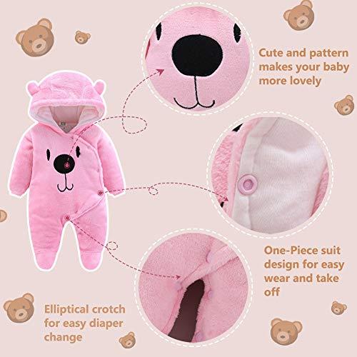 ALLAIBB Newborn Baby Warm Footie Romper Fleece Thick Jumpsuit Winter Outerwear Bear