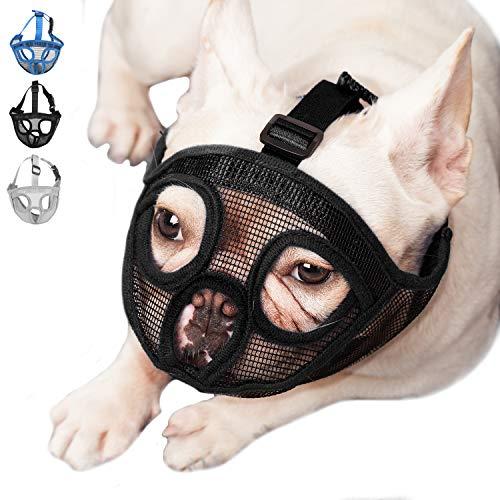ILEPARK Maulkorb für Hunde mit kurzer Schnauze, Bulldogge Maulkorb Anti-Beißen, Kauen, Bellen, Hundemaske.(M,Schwarz)