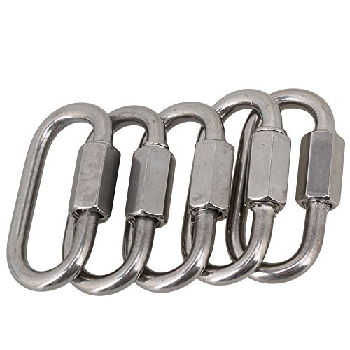 CNBTR, lot de 5 mousquetons multifonctionnels à vis (M4) en acier inoxydable 304 de forme ovale avec ouverture rapide, antivol