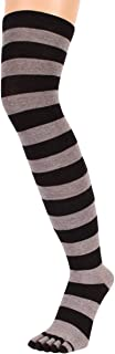 Black/Grey Striped Over The Knee Toe Socks by Toe Toe