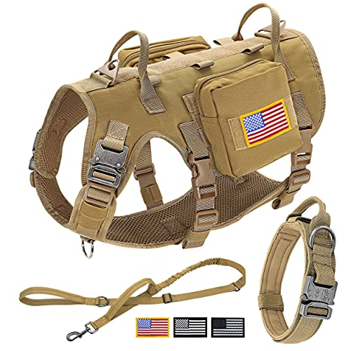 Forestpaw Tactical Dog Vest Harness and Easy Control Training Dog Collar with Bungee Dog Leash Set No Pull Military Dog Harness with Backpack for Medium Large Dogs-Coyote Brown L