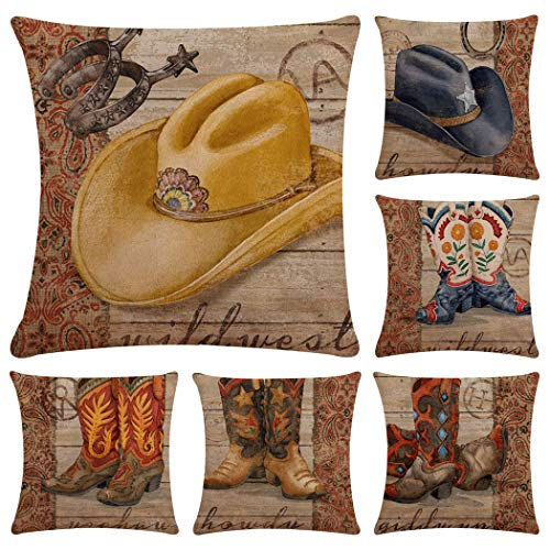 Faylapa 6 Pack Cowboy Style Pillow Cases,Simple Stripe Cotton Linen Decorative Cushion Cover, Living Room Sofa Car Decorations 18×18 Inches (45×45cm)(Case ONLY)