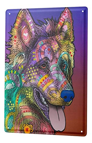 LEotiE SINCE 2004 Plaque en Métal Métallique Poster Mural tin Sign Dog Chien coloré