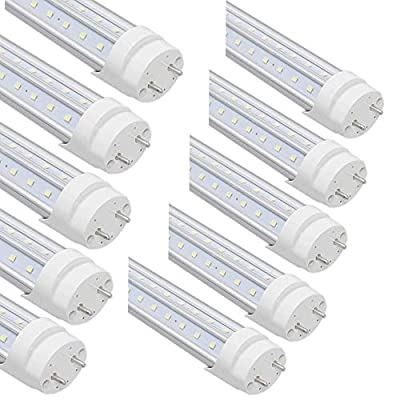 GOCuces T8 LED Light Tube ,G13 Big bi-pin,Dual-End Powered, Ballast Bypass, Clear Cover,AC100-277V,T8 T10 T12 Fluorescent Light Bulbs Replacement for Shop Office Store Pack of 10(White, 4FT 36W)