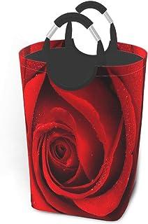 N\A Gros Plan du Beau Panier à Linge Rose Rouge avec poignées Grand Panier à Linge Pliable Organisateur pour Chambre d'enf...