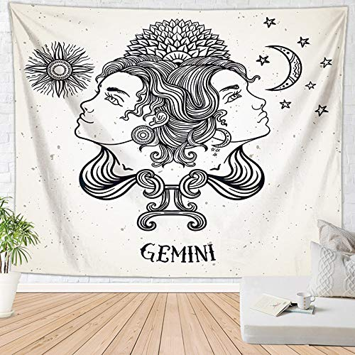 ZXBFJK Tapestry Wall Hanging,Hippie Psychedelic Large Rectangular Print Fabric Tapestries,Retro Twelve Constellation Gemini,Indian Art Print Mural,for Bedroom Living Room Dorm Home Decor