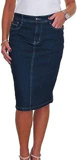 icecoolfashion Stretch Denim Jeans Skirt Below Knee Indigo Dark Blue 8-20