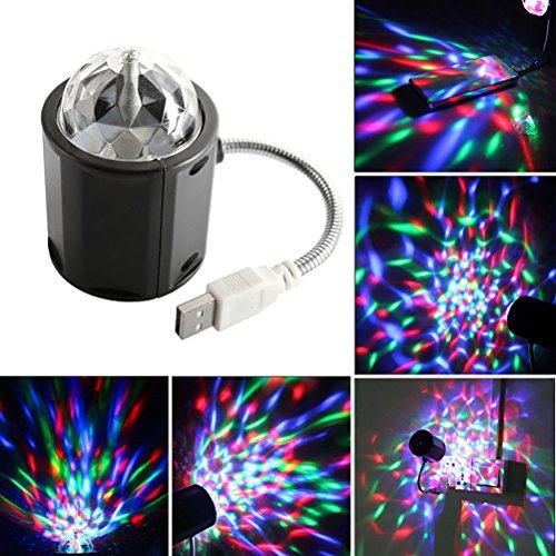 Mini Stage Lights tragbare USB Powred Mini magische Kugel Lampe RGB LED Bühneneffekt rotierenden Party Licht Atmosphäre Birne für Disco KTV Xmas Bar Club Weihnachten DJ Pub-Square