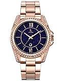 Alienwork Damen-Armbanduhr Quarz Rose-Gold mit Edelstahl Metallarmband Kalender Datum echtes Marmor Zifferblatt Strass-Steinen elegant