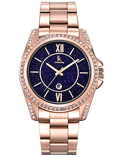 Alienwork Armbanduhr Damen Rose-Gold Edelstahl Metallarmband Kalender Datum echtes Marmor Zifferblatt Strass-Steinen Elegant
