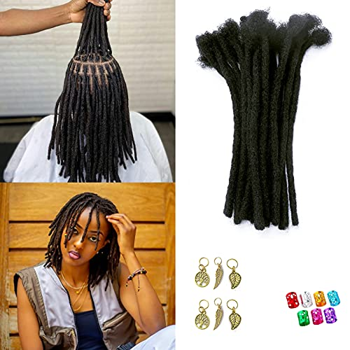 Sedfzo Loc Extensions Human Hair - 8-10inch Permanent Dreadlock Extensions for Women/Men,Can be Dyed,Can be Curled and Bleached,Natural Black(8inch,100 Locs,0.8cm Thickness)