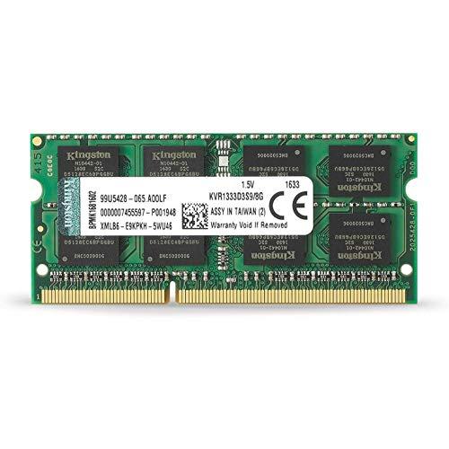 Kingston KVR1333D3S9/8G - Memoria RAM DDR3 (CL9 204-Pin SODIMM, 1333, 8 GB, KVR)