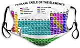 Periodic Table of Chemical Elem Face Ma-sk Neck Gaiter Face Cover Scarf with Filter Mother's Day & Easter Gifts Black