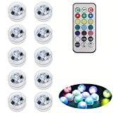 10 Pack Submersible LED Lights with Remote, Battery Operated Color Changing LED Tealights Waterproof Underwater Led Pool Lights for Vase,Fishtank,Wedding,Halloween,Christmas