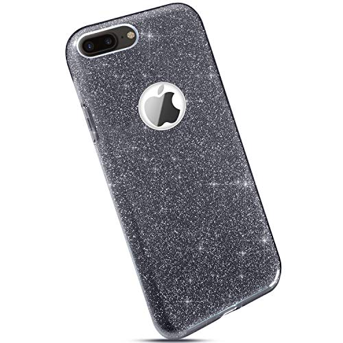 Ysimee Compatible pour iPhone 7 Plus Coque Glitter Brillante Silicone Étui de Protection [3 in 1] Paillette Bling Housse en Gel Caoutchouc + PC Anti Choc Bumper Slim-Fit Téléphone Couverture,Gris