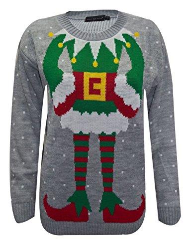 Herren Weihnachtspullover Unisex Hässliche Pulli Lustig Strickpullover Ugly Weihnachtspulli mit weihnachtlichen Motiven für Herren Weihnachtsparty (Joker Grey, S)