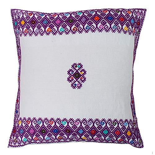 Handgeweven decoratiekussen Alamul wit-paars, vintage, vintage kussenhoes, handgeweven sierkussen, handgemaakt textiel, decoratief kussen met vulkussen, cadeau-idee enveloppen