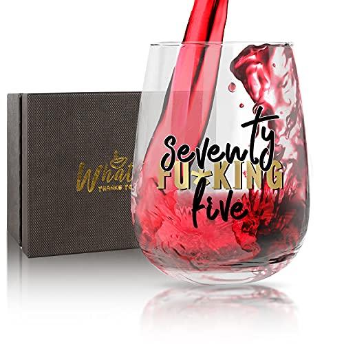 WHATCHA 75th Birthday Stemless Wine Glasses - Seventy Five Wine Glass Birthday Gifts Idea 75 Years Oldfor Women Men Grandma Grandpa Friend 17oz Gold