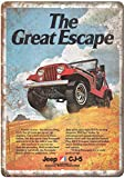 CDecor The Great Escape Jeep Blechschilder, Metall Poster,