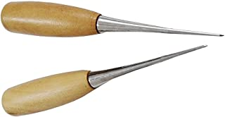 MAGIKON 2-Pack Wooden Handle Leather Stitching Sewing Awl Repair Tool (Round)