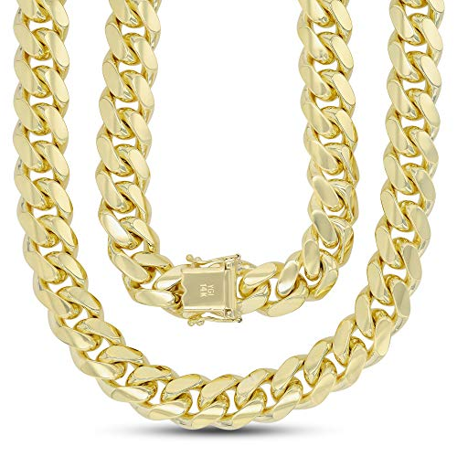 "14K Yellow Gold 11mm Solid Miami Cuban 350 26"" Chain With Box Lock"