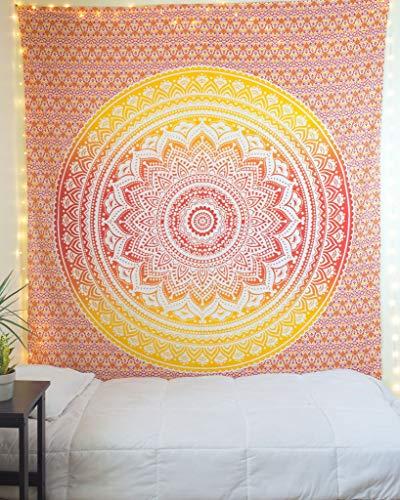 The Art Box Wandteppich, Mandala, psychedelisch, indische Baumwolle, Tagesdecke, Picknickdecke, Wanddekoration, Decke Art Deco Twin (140 x 210 Cms / 55 x 82 Inches) Orange und Gelb