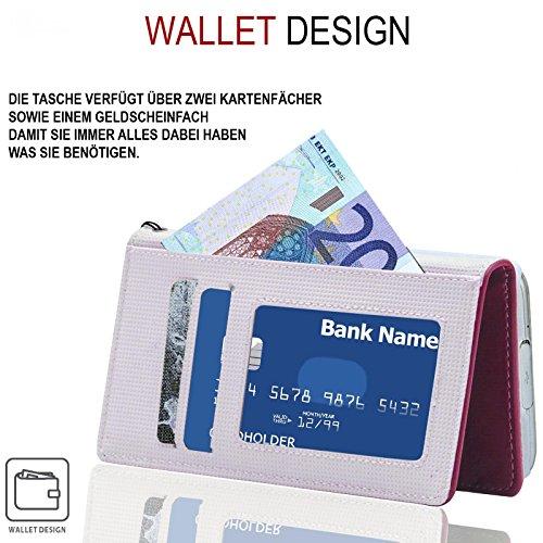 Huawei Ascend Y300 Hülle, numia Handyhülle Handy Schutzhülle [Book-Style Handytasche mit Standfunktion und Kartenfach] Pu Leder Tasche für Huawei Ascend Y300 Case Cover [Pink-Weiss] - 3