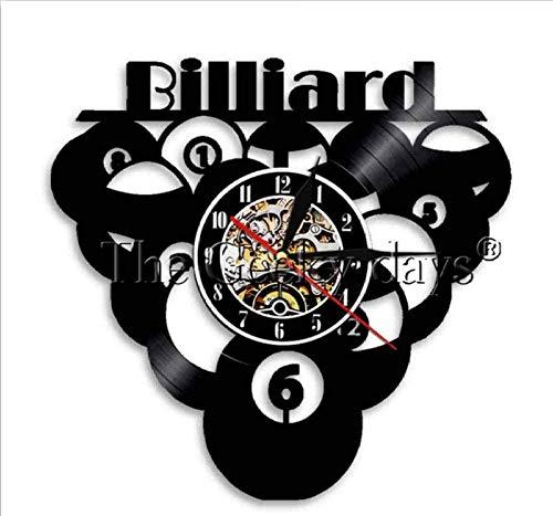 TIANZly Wanduhr Dekoration -Uhr Billiards Ball Pool Design Vinyl Record Wall Clock Snooker Vinyl Clock Vinyl Wall Art Vintage Living Room Decoration