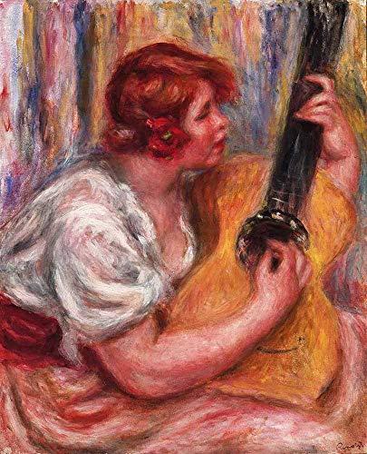 Pierre-Auguste Renoir - Frau Mit Einer Gitarre Leinwandbilder Reproduktionen Gerollte 50X60 cm - Figur Aktivität Gemälde Gedruckt Wandkunst