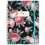 2021 Planner - Weekly & Monthly Planner 2021 with Marked Tabs, 8.46' x 6.37', Jan 2021 - Dec 2021, Twin-Wire Binding, Thick Paper, Back Pocket, Elastic Closure, Blue Leaves & Big Red Flowers
