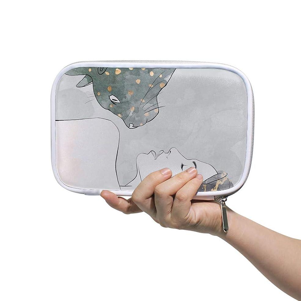 否認する排他的リングレットZHIMI 化粧ポーチ メイクポーチ レディース コンパクト 柔らかい おしゃれ 化粧品収納バッグ コスメケース ネコと美人の柄 機能的 防水 軽量 小物入れ 出張 海外旅行グッズ パスポートケースとしても適用